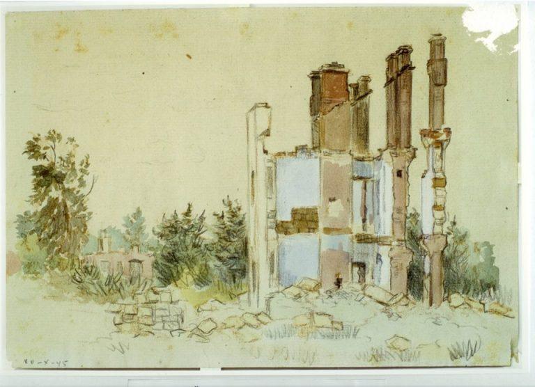 Зруйнований Кременчук. Малюнки з натури Ленінський проспект 1943