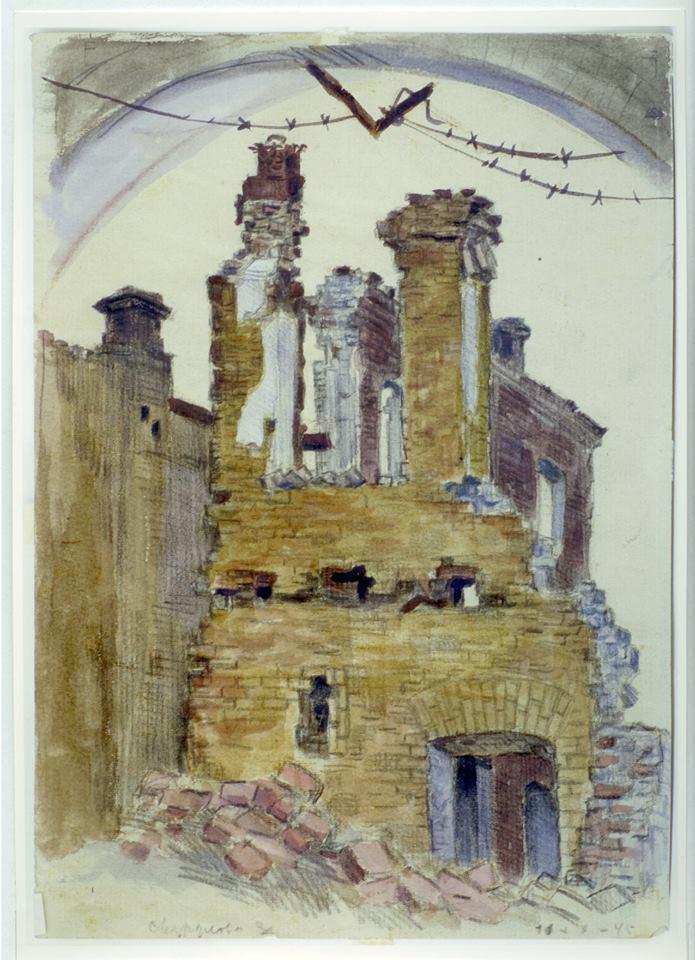 Кременчук вул Свердлова 1943 Зруйнований Кременчук. Малюнки з натури