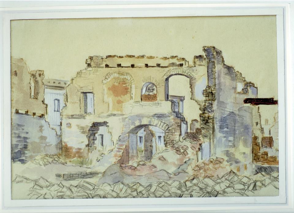 Кременчук район ринку 1943 Зруйнований Кременчук. Малюнки з натури